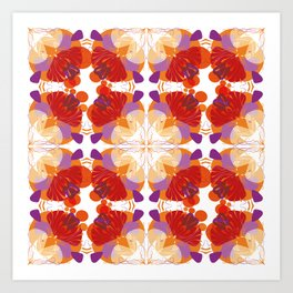 Retro Floral Pattern 01 Art Print