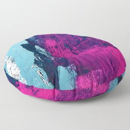 Early Bird: A vibrant minimal abstract piece in blues and pink by Alyssa Hamilton Art Floor Pillow