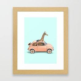 GIRAFFE CAR Framed Art Print