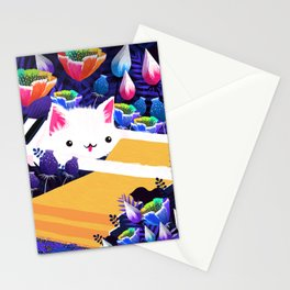 Piano Cat in the Forest Stationery Cards