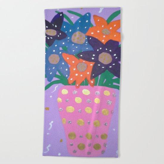 Fiesta Flowers Modern Still Life Beach Towel