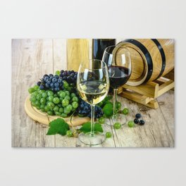 Glasses of Wine plus Grapes and Barrel Canvas Print