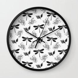 Pretty beautiful cute black dragonflies, delicate little leaves elegant classy stylish white pattern Wall Clock