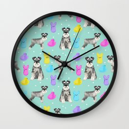 Schnauzer dog breed peeps marshmallow easter spring dog pattern gifts schnauzers Wall Clock