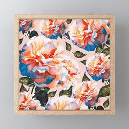 Big flowers blue & orange Framed Mini Art Print