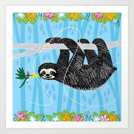 The Sloth and The Hummingbird Art Print