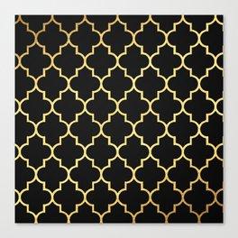 Black Gold Quattrefoil Canvas Print