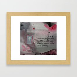 The Door----Religious Abstract Art --- John 10:9 --- by Saribelle Rodriguez Framed Art Print