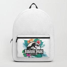 Jurassic Park logo with tropical flowers Backpack