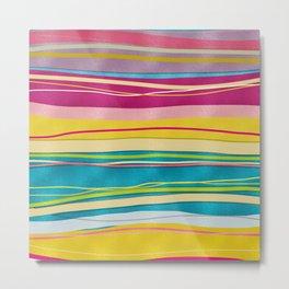 Colorful Bohemian Wavy Glitter Pattern Metal Print