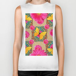 Fuchsia Flowers Yellow Butterflies On Teal-Gold Art Biker Tank