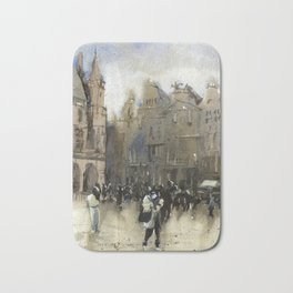 Grand Place of Brussels in downtown Brussels illuminated at night. Brussels artwork watercolor Bath Mat