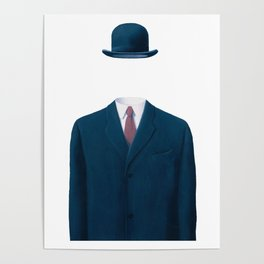 Man In a Bowler Hat by Rene Magritte, Artwork For Prints, Posters, Tshirts, Bags, Men Women, Kids Poster