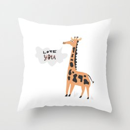 Love Giraffe Throw Pillow