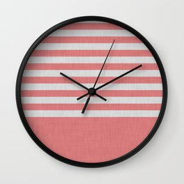 Orange and gray color block and stripes Wall Clock
