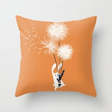 Bunny and Dandelion Bouquet Throw Pillow