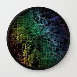 Dayton, OH, USA, City, Map, Rainbow, Map, Art, Print Wall Clock