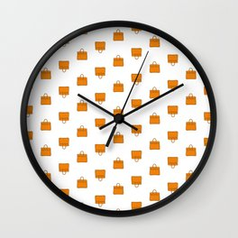 Orange Birkin Vibes High Fashion Purse Illustration Wall Clock