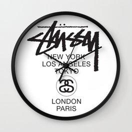 Stussy World black Wall Clock