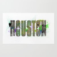 houston Area & Throw Rugs featuring Houston by Tonya Doughty