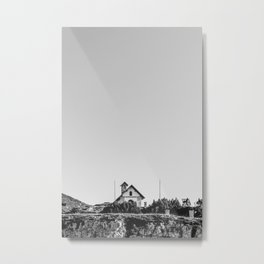 Little church in the Dolomites | Italian Alps | Adventure Travel Europe | Black and white nature photography Metal Print