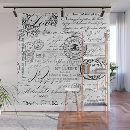 Vintage handwriting black and white Wall Mural