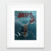 jaws Framed Art Prints featuring Jaws by Andy Fairhurst Art