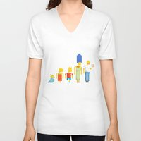 simpsons V-neck T-shirts featuring  The Simpsons by LOVEMI DESIGN