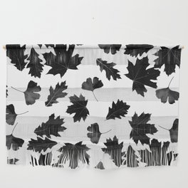 Falling Autumn Leaves in Black and White Wall Hanging