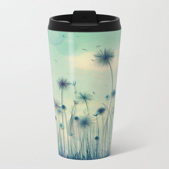 Whimsical Indigo Dandelion Flower Garden Metal Travel Mug