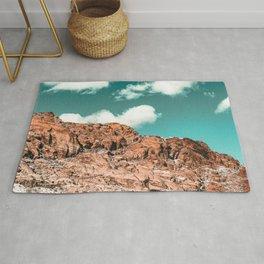 Vintage Red Boulder // Desert Rocks Teal Blue Sky Canyon Landscape Wilderness Nature Scene Rug