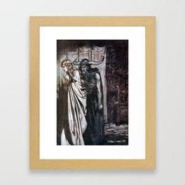 Arthur Rackham - Siegfried and the Twilight of the Gods (1911) - O wife betrayed, I will avenge Framed Art Print