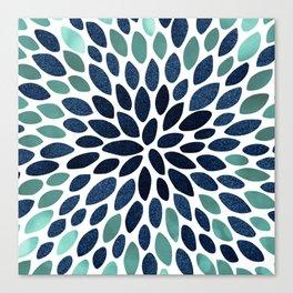 Flower Bloom, Aqua and Navy Canvas Print
