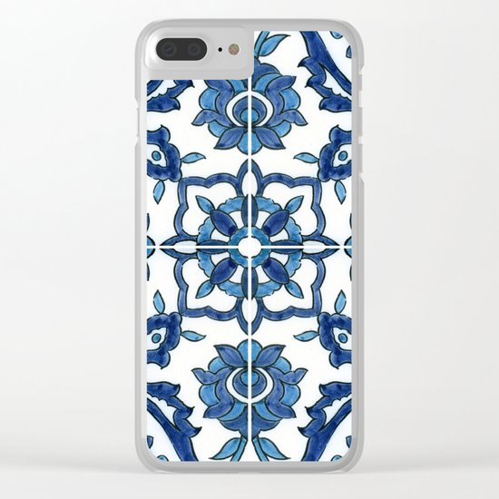 Blue Tile Clear iPhone Case