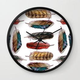 Country Feathers Wall Clock