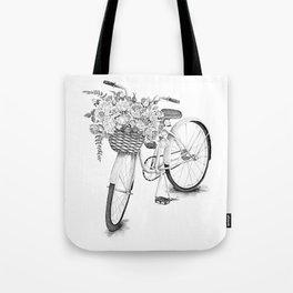 Vintage bike with flowers in basket. Tote Bag
