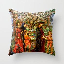 The Enchanted Garden of Messer Ansaldo - Marie Spartali Stillman Throw Pillow