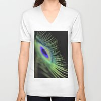 peacock feather V-neck T-shirts featuring Peacock feather by Falko Follert Art-FF77