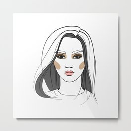 Asian woman with long hair. Abstract face. Fashion illustration Metal Print