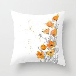 California Poppy Splash Throw Pillow