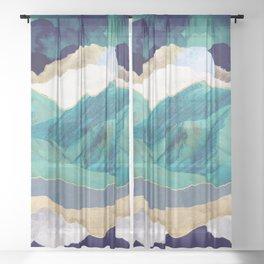 Teal Mountains Sheer Curtain