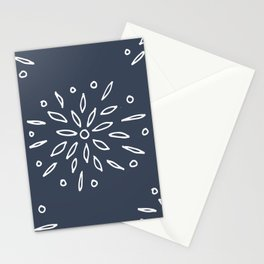 Starry Floral Pattern on Blue Stationery Cards