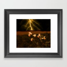 In darkest night one sees the flash but beauty soothes the karmic crash Framed Art Print