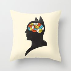 Bat Phrenology Throw Pillow