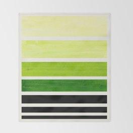 Sap Green Minimalist Mid Century Staggered Stripes Rothko Color Block Geometric Art Throw Blanket