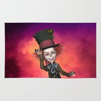 mad hatter Area & Throw Rugs featuring Mad Hatter by apgme