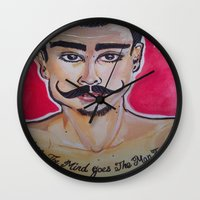 greg guillemin Wall Clocks featuring MOUSTACHED MODEL (GREG)  by Punkboy Marti