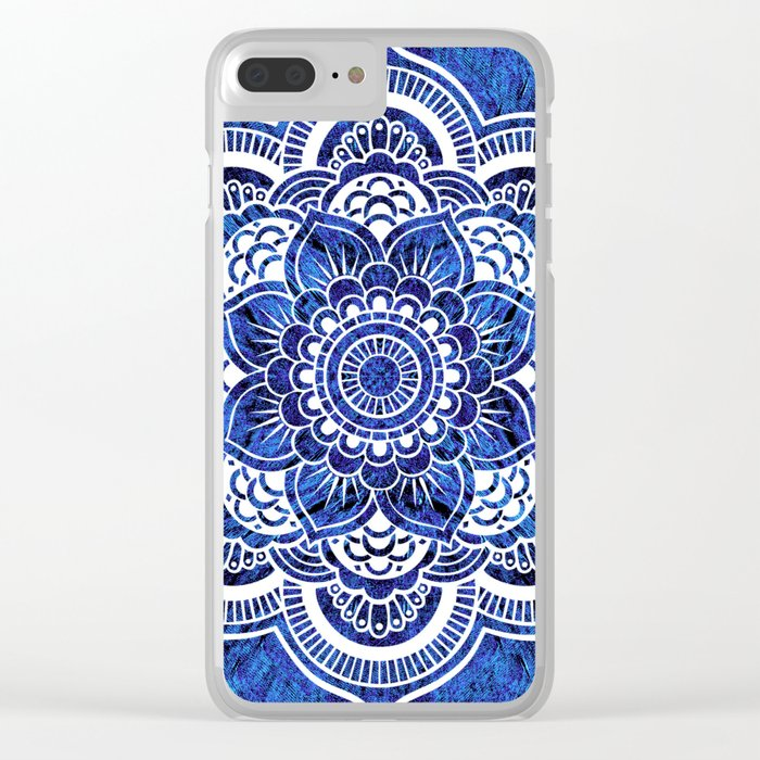 Mandala Blue Colorburst Clear iPhone Case