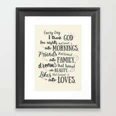Thank God, every day, quote for inspiration, motivation, overcome, difficulties, typography, illustr Framed Art Print
