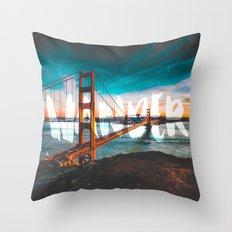 WANDER - wanderlust - travel - water - sky - landscape nature san francisco golden gate bridge love Throw Pillow